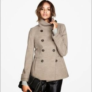 H&M Double Breasted Tan Pea Coat Funnel Neck 8